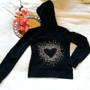 Twisted Heart Black Hoodie With Embellished Heart